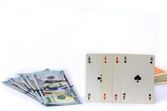 Four aces and money Royalty Free Stock Photo