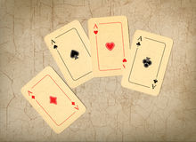 Four aces, old cards. Four aces, old used cards royalty free stock photography