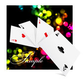 Four aces over colorful clubs background Stock Photography