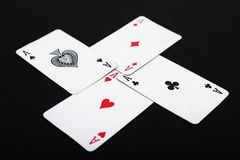 Four aces of play card stock images