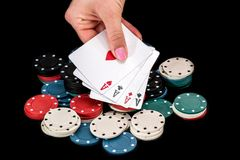 Four aces in the player`s poker hand.  Stock Photos