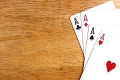 Four aces of a playing card deck Royalty Free Stock Photo