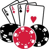 Four aces playing cards with coins poker. Vector royalty free illustration
