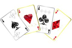 Four aces playing cards poker winner hand with specific ornament. Nad gold/silver outline.Isolated on white vector illustration