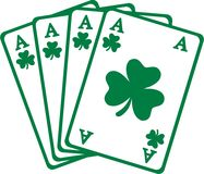 Four aces playing cards for saint patrick`s day. Vector stock illustration