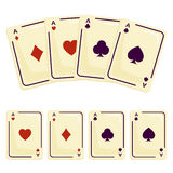 Four aces playing cards spades. Attributes magician Royalty Free Stock Photo