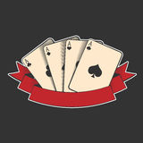 Four aces. Playing cards suits on black, excellent vector illustration, EPS 10 Royalty Free Stock Photography