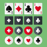 Four aces playing cards and suits flat icons Stock Photography