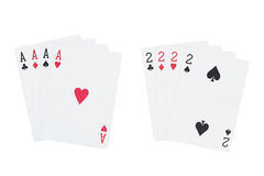 Four aces playing cards suits and four two playing cards suits. Isolated on white background with clipping paths Royalty Free Stock Photos