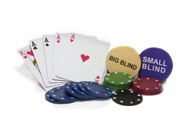 Four aces in poker. With chips and big and small blind on the table Stock Photo