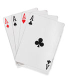 Four aces. Poker cards over white Royalty Free Stock Photos