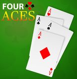 Four aces poker cards winner hand Stock Images