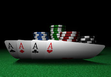 Four Aces and Poker Chips stock images