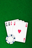 Four aces and poker chips Royalty Free Stock Images