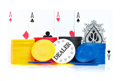 Four aces, poker chips and dealer button Royalty Free Stock Photo