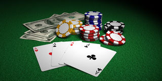 Four Aces, Poker Chips and Dollars Stock Photos
