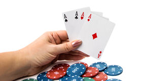 Four aces with poker chips. On white background stock photography