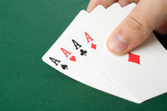 Four aces poker hand Royalty Free Stock Images