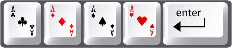 Four aces poker hand computer keyboard keys Stock Images
