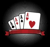 Four Aces. Poker icon. Four aces. Casino Poker Cards on black background. Vector file available Stock Images