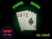 Four Aces In The Poker Room Royalty Free Stock Photography