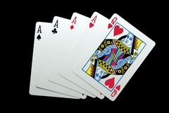 Four Aces and a Queen stock images