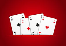 Four aces on red Stock Photography