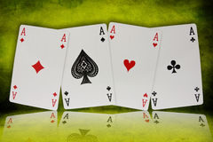 Four aces with reflection Stock Images
