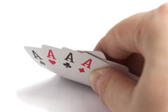 Four Aces in the right hand Stock Photo