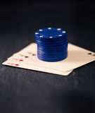 Four aces and stack of poker chips Stock Images