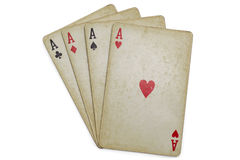 Old poker cards isolated stock image