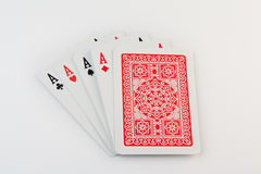 Four aces on white background Royalty Free Stock Photo