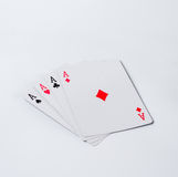 Four aces on a white background Stock Image