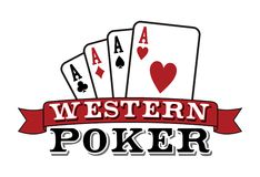 Four aces on white. Poker icon. Four aces. Casino Poker Cards with red ribbon on white background. Vector available Stock Photo