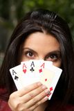 Four aces woman Stock Images