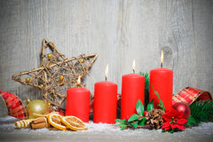 Four advent candles burning Stock Images