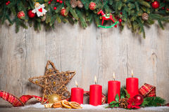 Four advent candles burning Royalty Free Stock Photo
