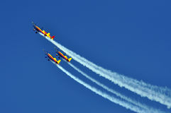 Four aerobatic airplanes flying during an air show. In Cluj Napoca, Romania Stock Photography