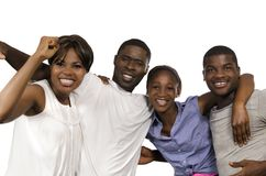 Four african Friends in joy. Studio Shot Royalty Free Stock Image