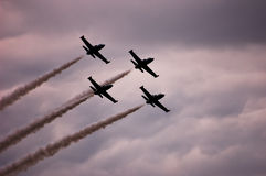 Four air crafts show aerobatics Royalty Free Stock Photos