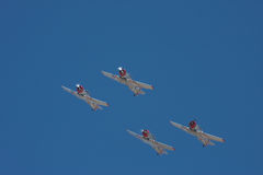 Four airplanes on air-show Royalty Free Stock Photo