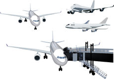 Four airplanes collection isolated on white Royalty Free Stock Photography