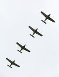 Four airplanes in formation on airshow Royalty Free Stock Images
