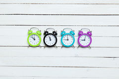 Four alarm clocks Royalty Free Stock Image