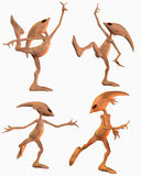 Four aliens in dance poses Royalty Free Stock Photography