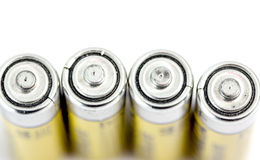 Four alkaline batteries AA size with shallow dof Stock Photos
