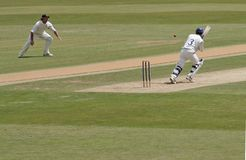 Four all the way. Another boundary for number three batsman stock photo