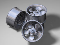 Four aluminium rims Stock Photo