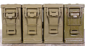 Four ammunition boxes Royalty Free Stock Photo