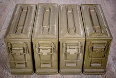Four ammunition boxes Royalty Free Stock Images